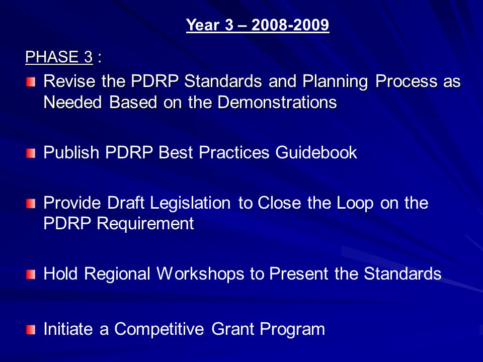 PHASE 3 : Revise the PDRP Standards and Planning Process as Needed Based on the Demonstrations Publish PDRP Best Practices Guidebook Provide Draft Legislation to Close the Loop on the PDRP Requirement Hold Regional Workshops to Present the Standards Initiate a Competitive Grant Program Year 3 – 2008-2009