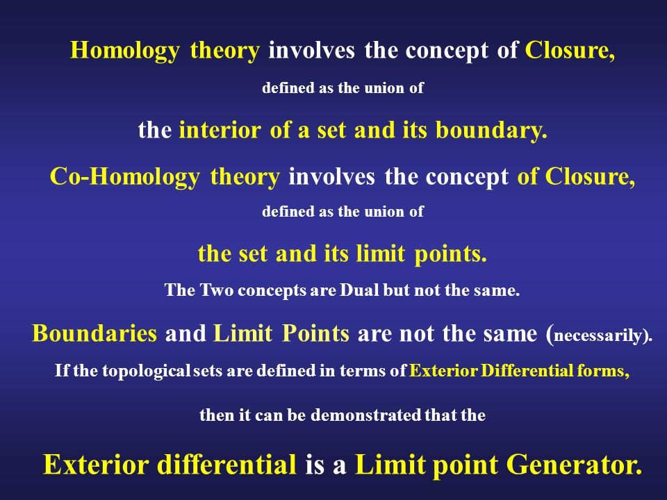 Homology theory involves the concept of Closure, defined as the union of the interior of a set and its boundary.