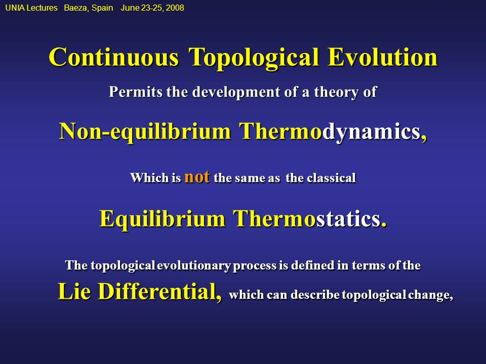 UNIA Lectures Baeza, Spain June 23-25, 2008 Continuous Topological Evolution Permits the development of a theory of Non-equilibrium Thermodynamics, Which is not the same as the classical Equilibrium Thermostatics.