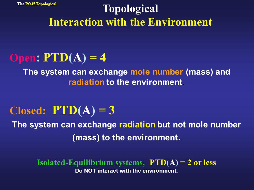 Open : PTD(A) = 4 The system can exchange mole number (mass) and radiation to the environment.