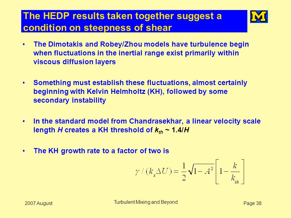 Page 382007 August Turbulent Mixing and Beyond The HEDP results taken together suggest a condition on steepness of shear The Dimotakis and Robey/Zhou