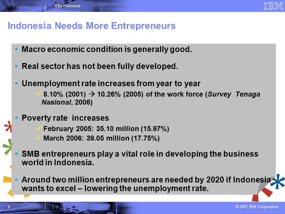 © 2007 IBM Corporation IBM Indonesia 5 Indonesia Needs More Entrepreneurs  Macro economic condition is generally good.