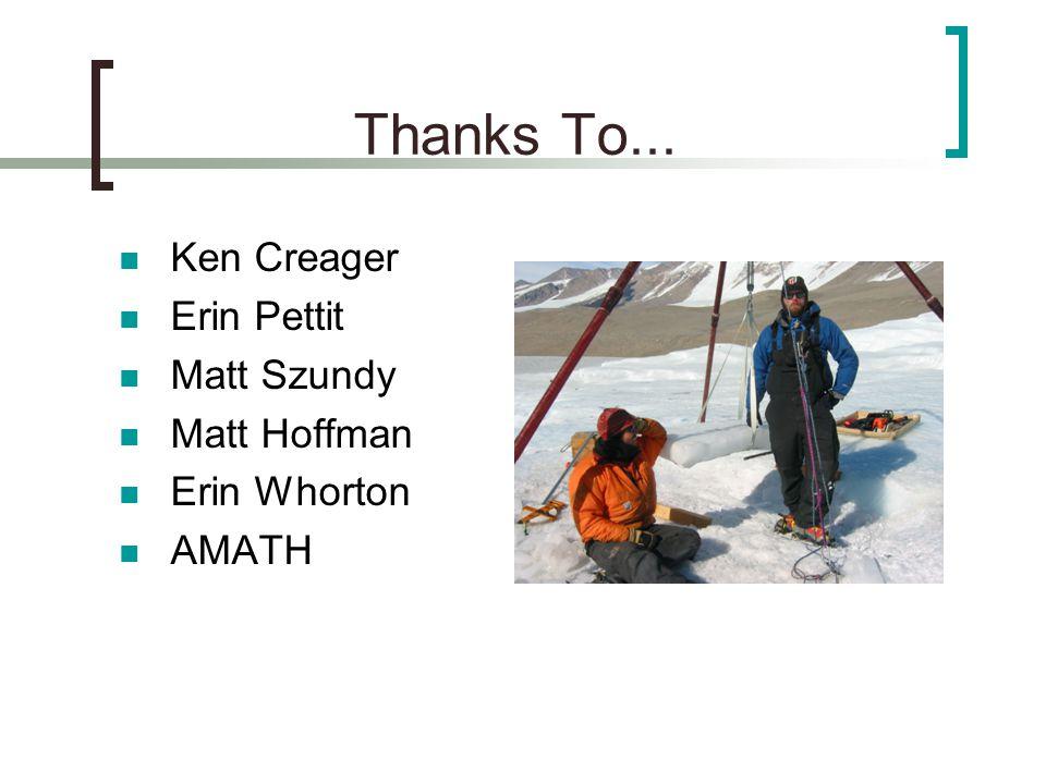 Thanks To... Ken Creager Erin Pettit Matt Szundy Matt Hoffman Erin Whorton AMATH