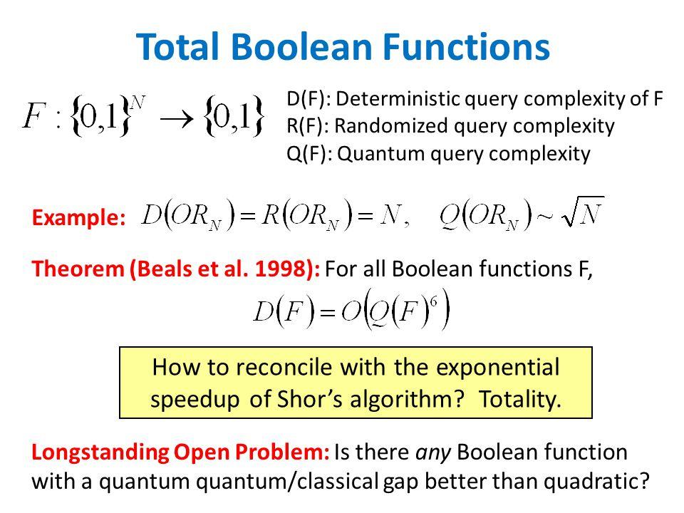 Total Boolean Functions Example: Theorem (Beals et al.