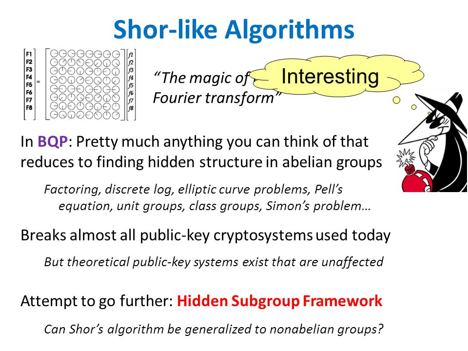 The magic of the Fourier transform Shor-like Algorithms Interesting In BQP: Pretty much anything you can think of that reduces to finding hidden structure in abelian groups Factoring, discrete log, elliptic curve problems, Pell's equation, unit groups, class groups, Simon's problem… Breaks almost all public-key cryptosystems used today But theoretical public-key systems exist that are unaffected Attempt to go further: Hidden Subgroup Framework Can Shor's algorithm be generalized to nonabelian groups?