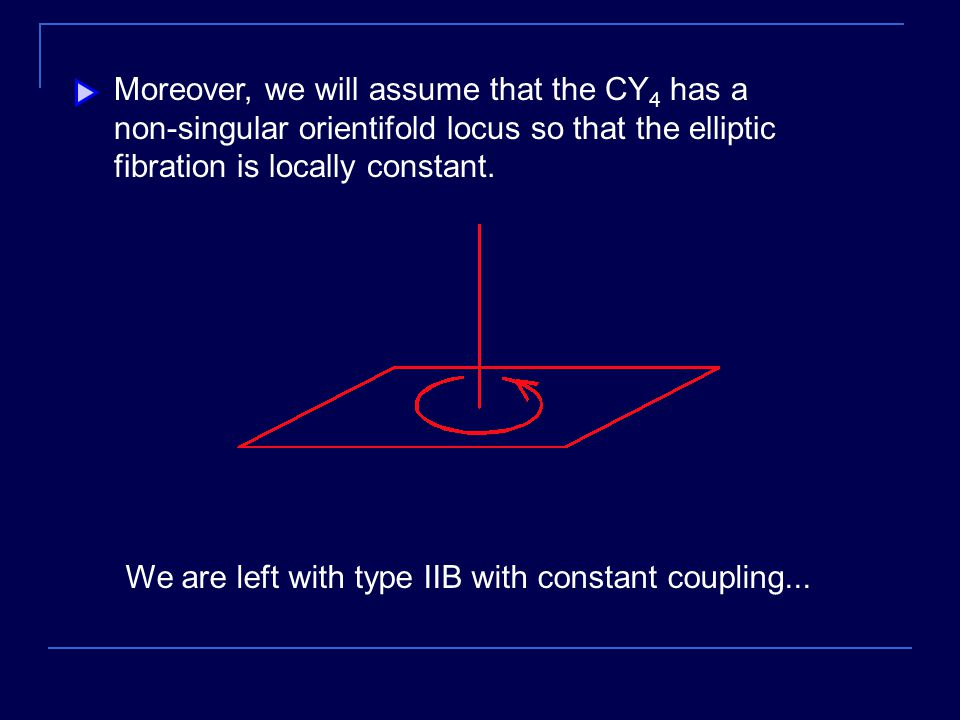 Moreover, we will assume that the CY 4 has a non-singular orientifold locus so that the elliptic fibration is locally constant.