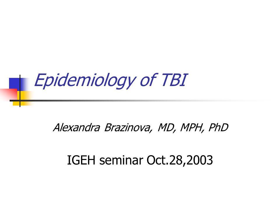 Epidemiology of TBI Alexandra Brazinova, MD, MPH, PhD IGEH seminar Oct.28,2003