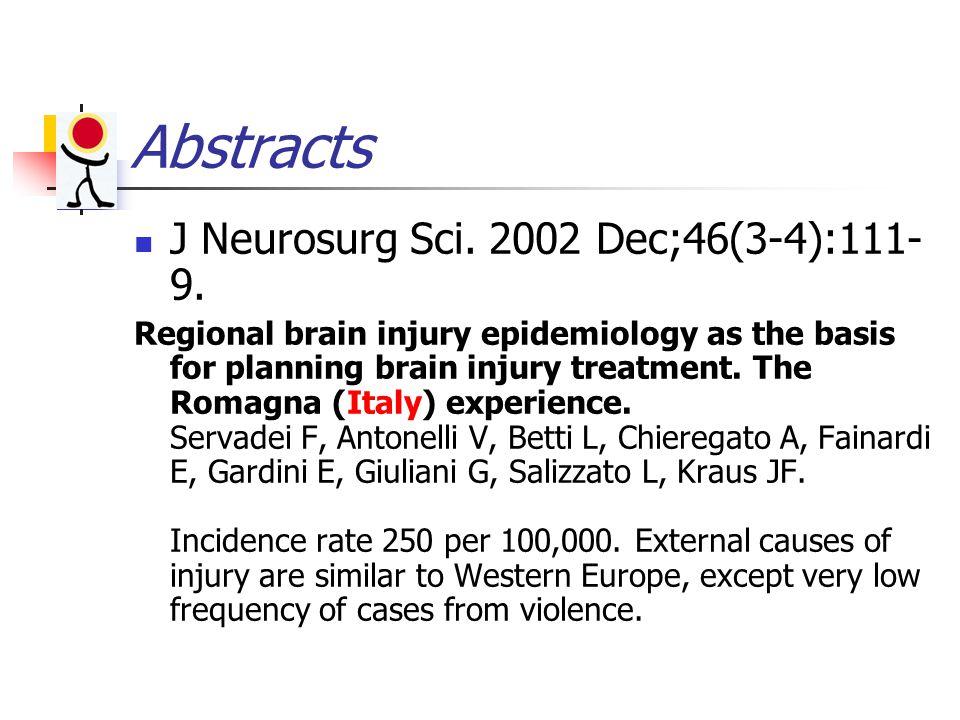 Abstracts J Neurosurg Sci. 2002 Dec;46(3-4):111- 9.