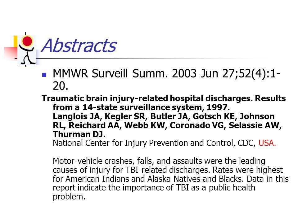 Abstracts MMWR Surveill Summ. 2003 Jun 27;52(4):1- 20.