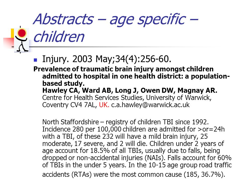 Abstracts – age specific – children Injury. 2003 May;34(4):256-60.