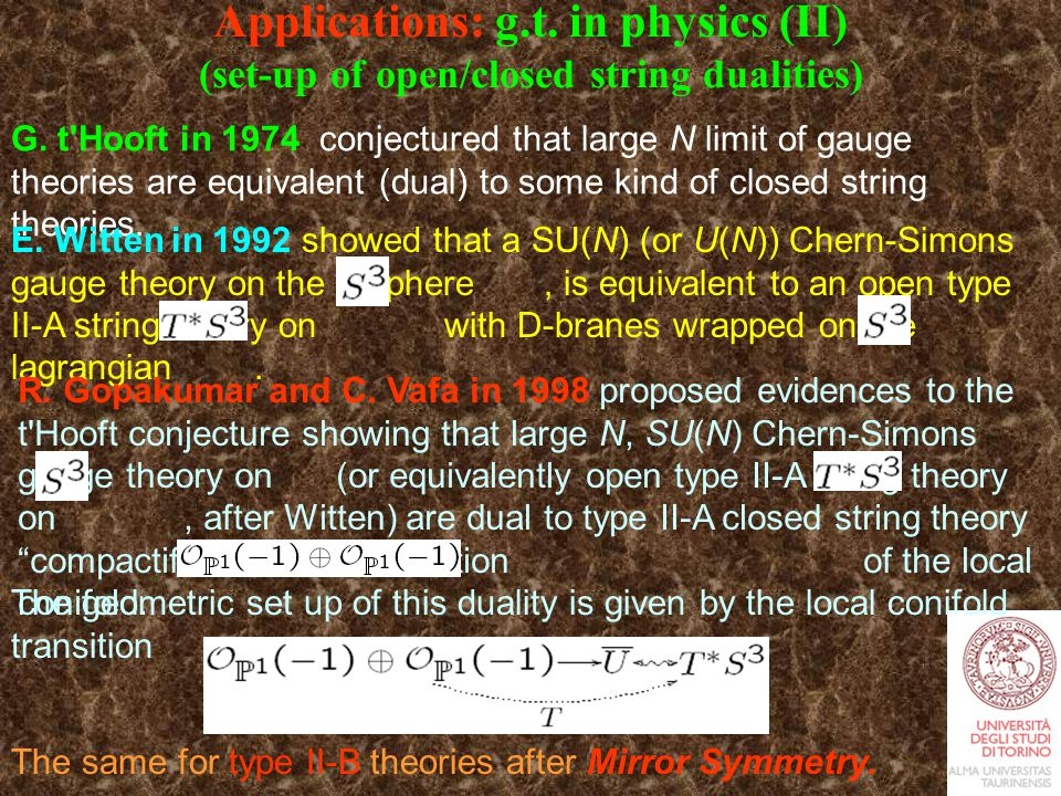 Applications: g.t. in physics (II) (set-up of open/closed string dualities) G.