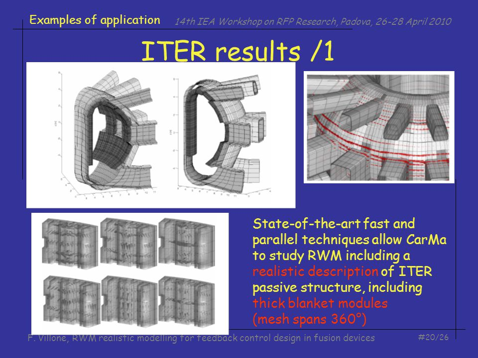 14th IEA Workshop on RFP Research, Padova, 26-28 April 2010 #20/26 F. Villone, RWM realistic modelling for feedback control design in fusion devices I
