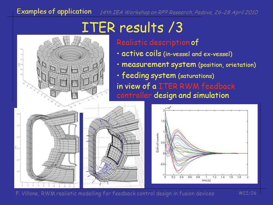 14th IEA Workshop on RFP Research, Padova, 26-28 April 2010 #22/26 F. Villone, RWM realistic modelling for feedback control design in fusion devices E