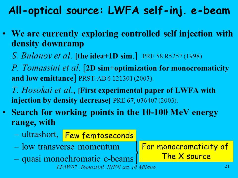 LPAW07. Tomassini, INFN sez. di Milano 21 All-optical source: LWFA self-inj.