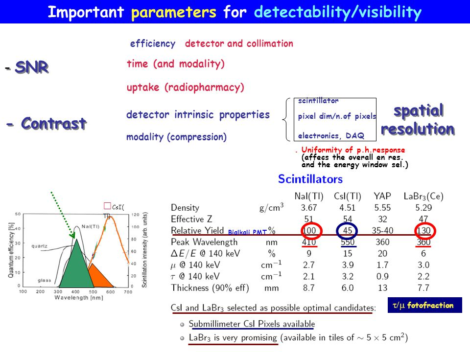 CsI(Tl) Bialkali PMT Important parameters for detectability/visibility - SNR - Contrast - SNR - Contrast time (and modality) pixel dim/n.of pixels sci