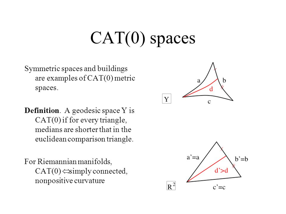 CAT(0) spaces Symmetric spaces and buildings are examples of CAT(0) metric spaces.