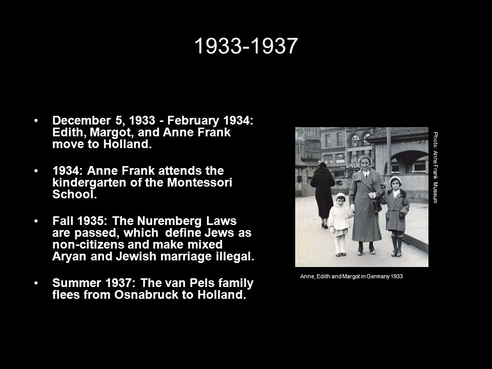 1933-1937 December 5, 1933 - February 1934: Edith, Margot, and Anne Frank move to Holland.