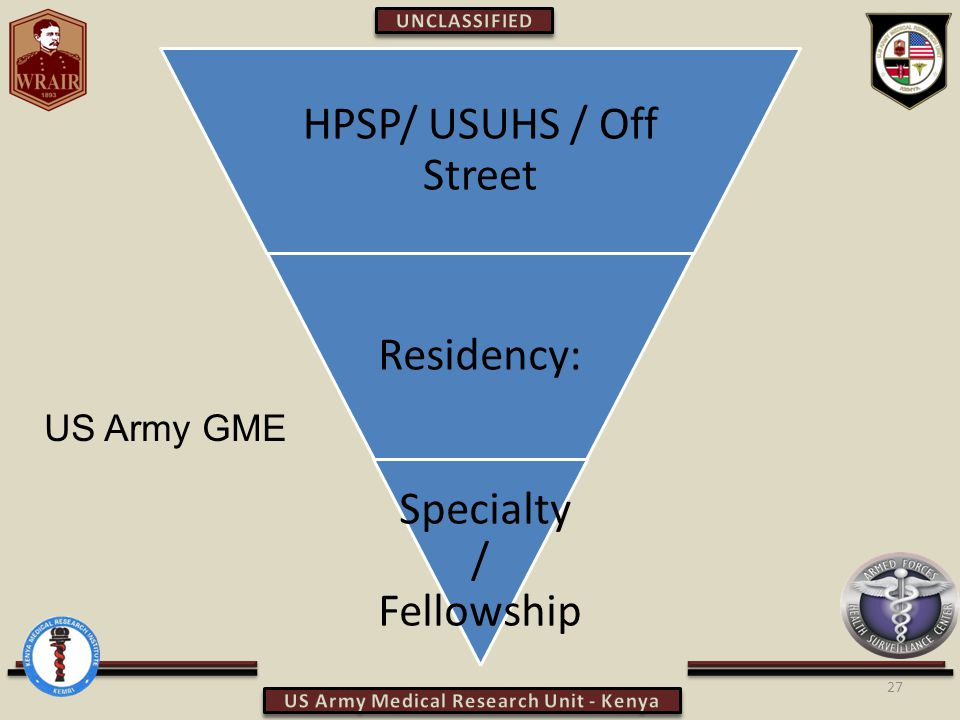 27 HPSP/ USUHS / Off Street Residency: Specialty / Fellowship US Army GME