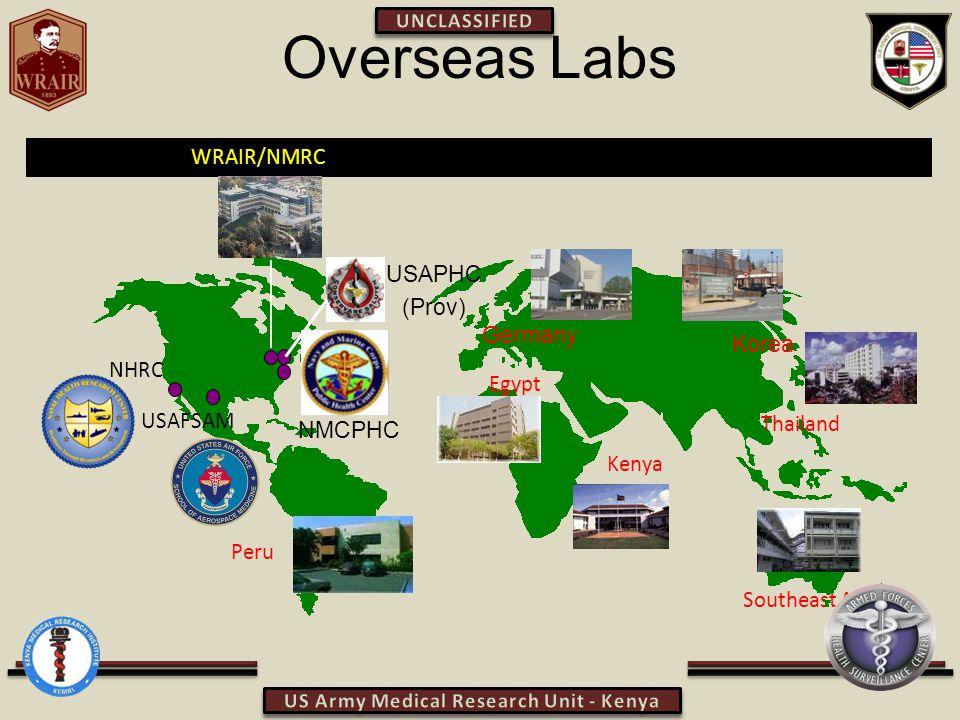 Overseas Labs Peru Kenya Egypt Thailand Southeast Asia NHRC USAFSAM WRAIR/NMRC Germany Korea USAPHC (Prov) NMCPHC
