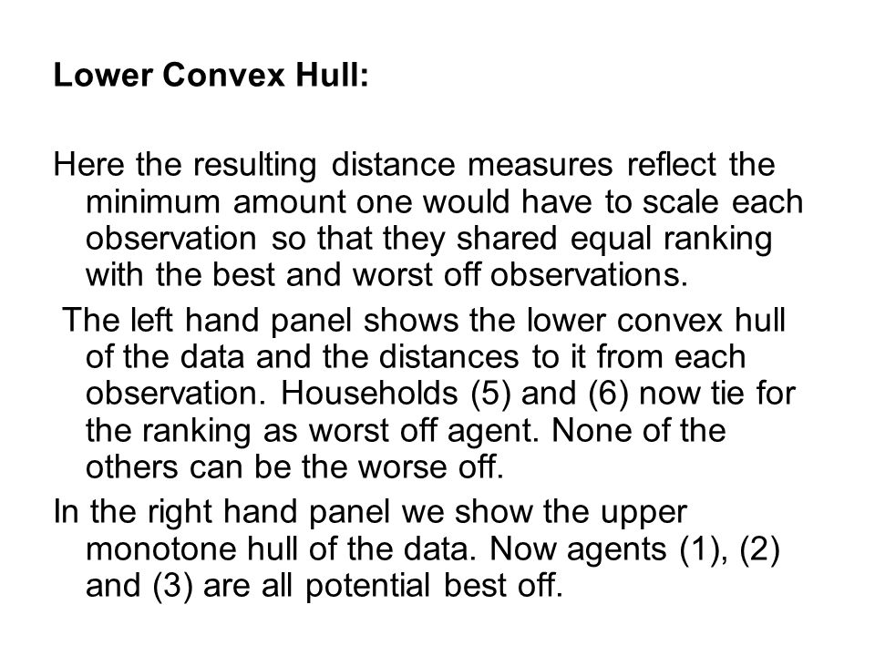 Lower Convex Hull: Here the resulting distance measures reflect the minimum amount one would have to scale each observation so that they shared equal