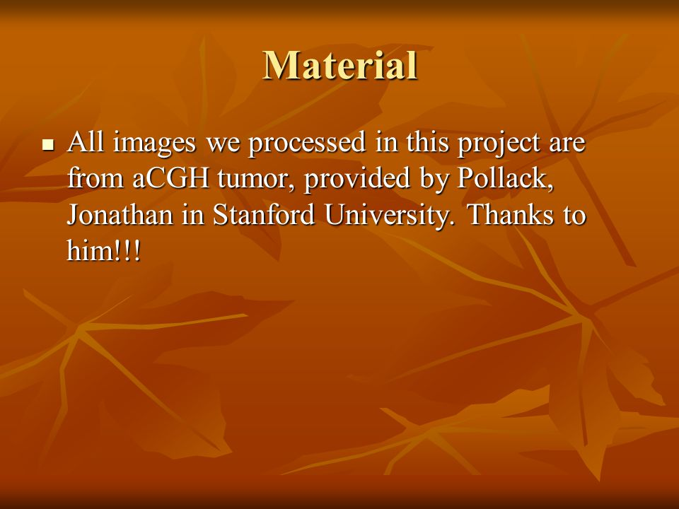Material All images we processed in this project are from aCGH tumor, provided by Pollack, Jonathan in Stanford University. Thanks to him!!! All image