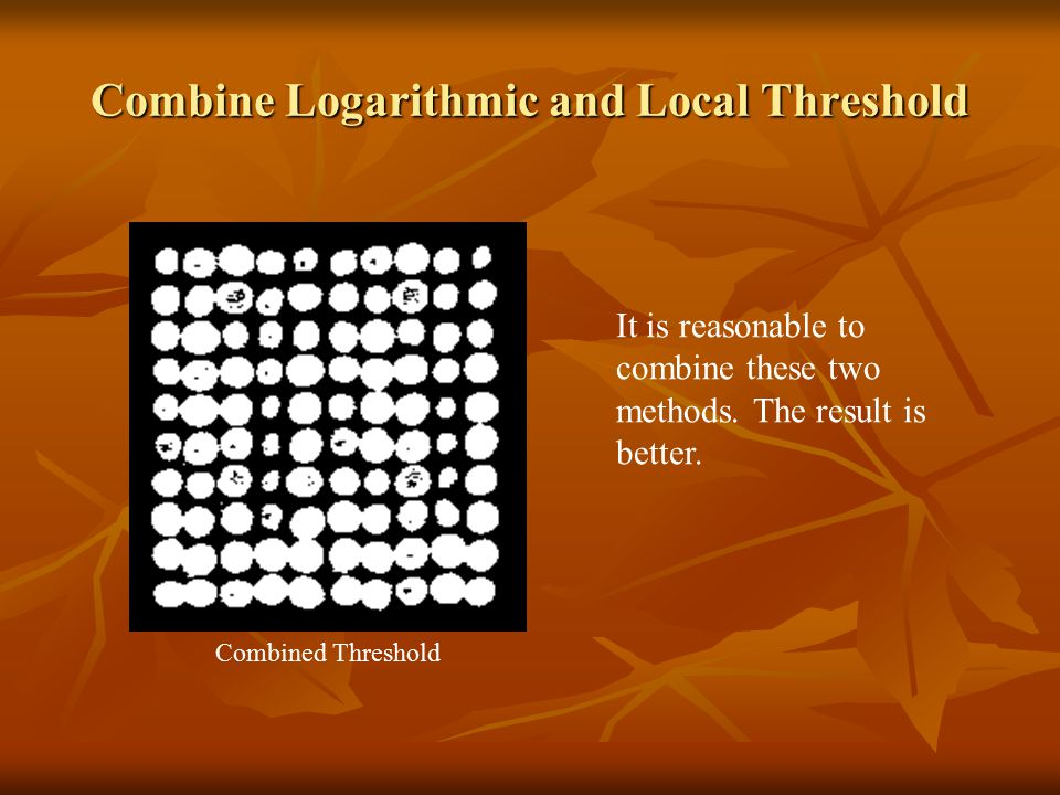 Combine Logarithmic and Local Threshold It is reasonable to combine these two methods. The result is better. Combined Threshold