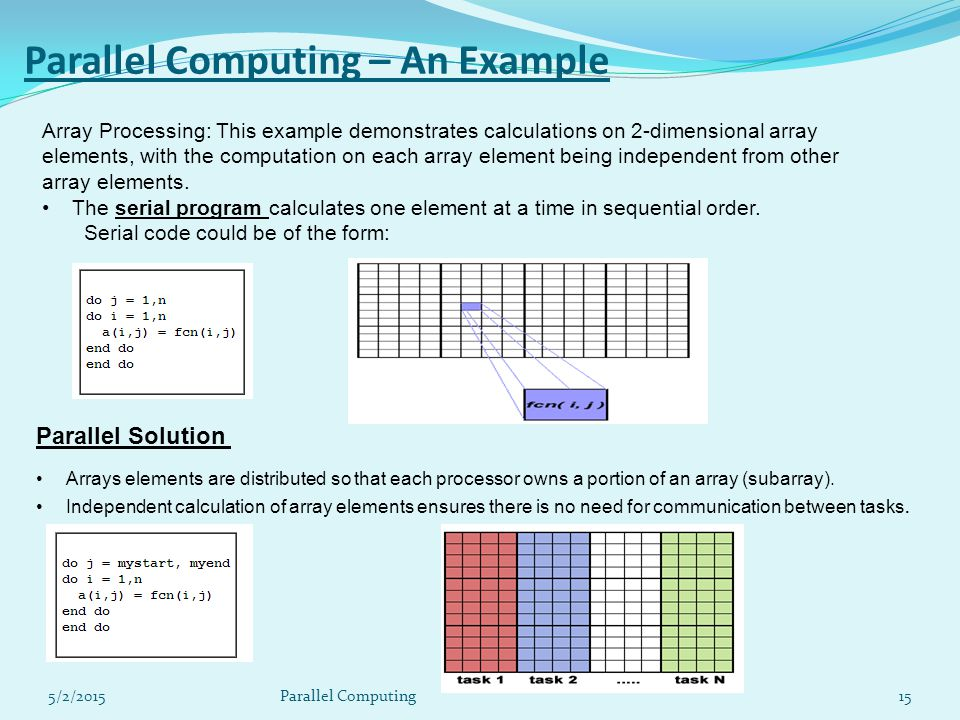 5/2/201515 Parallel Computing – An Example Array Processing: This example demonstrates calculations on 2-dimensional array elements, with the computation on each array element being independent from other array elements.