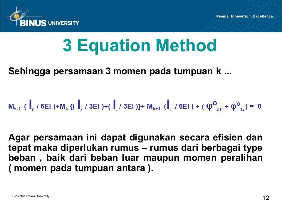 Bina Nusantara University 12 3 Equation Method Sehingga persamaan 3 momen pada tumpuan k...