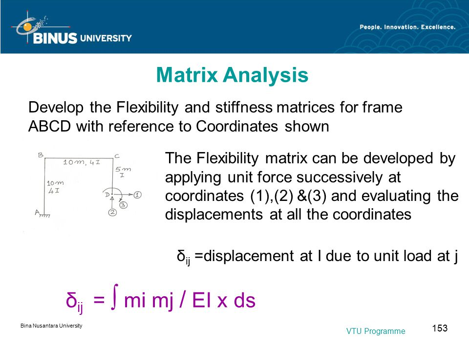 Bina Nusantara University 153 Develop the Flexibility and stiffness matrices for frame ABCD with reference to Coordinates shown The Flexibility matrix can be developed by applying unit force successively at coordinates (1),(2) &(3) and evaluating the displacements at all the coordinates δ ij = ∫ mi mj / EI x ds δ ij =displacement at I due to unit load at j Matrix Analysis VTU Programme