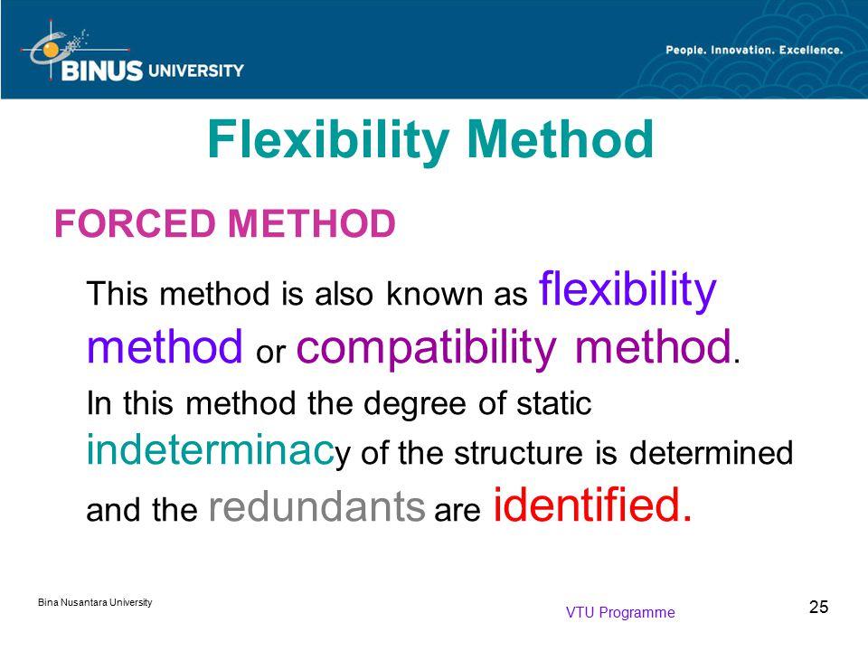 Bina Nusantara University 25 FORCED METHOD This method is also known as flexibility method or compatibility method. In this method the degree of stati