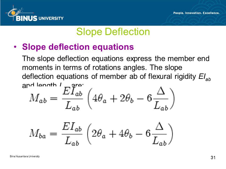 Bina Nusantara University 31 Slope Deflection Slope deflection equations The slope deflection equations express the member end moments in terms of rot