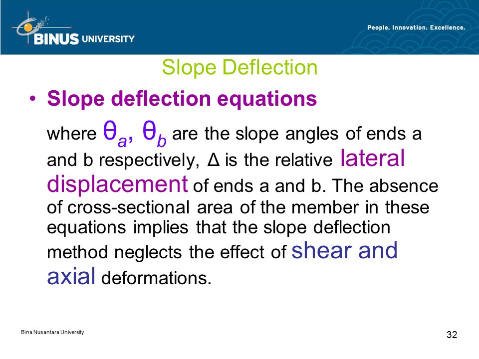 Bina Nusantara University 32 Slope Deflection Slope deflection equations where θ a, θ b are the slope angles of ends a and b respectively, Δ is the relative lateral displacement of ends a and b.