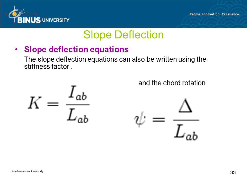 Bina Nusantara University 33 Slope Deflection Slope deflection equations The slope deflection equations can also be written using the stiffness factor