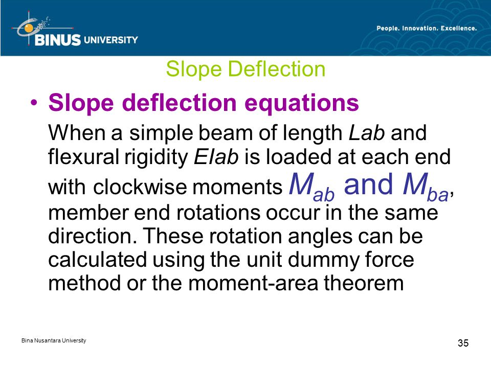 Bina Nusantara University 35 Slope Deflection Slope deflection equations When a simple beam of length Lab and flexural rigidity EIab is loaded at each end with clockwise moments M ab and M ba, member end rotations occur in the same direction.