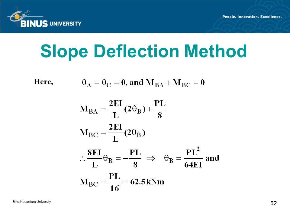 Bina Nusantara University 52 Here, Slope Deflection Method