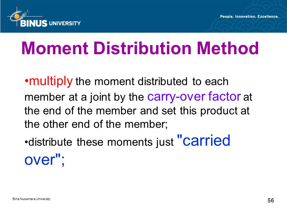 Bina Nusantara University 56 multiply the moment distributed to each member at a joint by the carry-over factor at the end of the member and set this product at the other end of the member; distribute these moments just carried over ; Moment Distribution Method