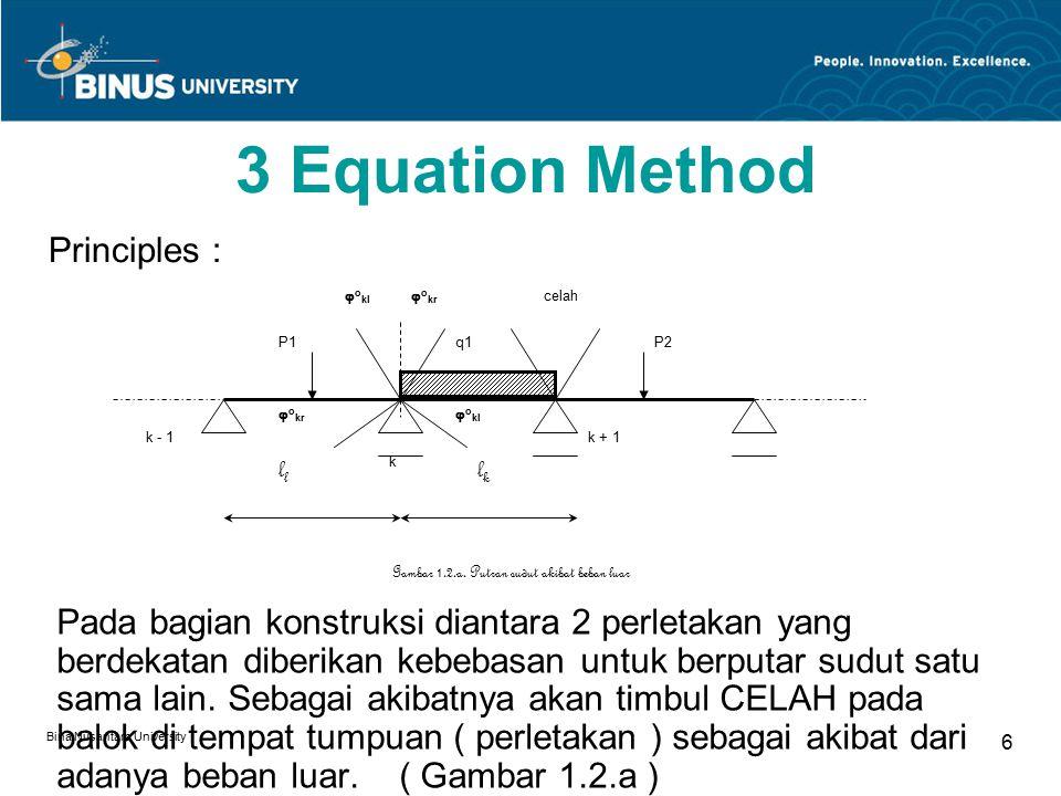 Bina Nusantara University 6 3 Equation Method Pada bagian konstruksi diantara 2 perletakan yang berdekatan diberikan kebebasan untuk berputar sudut satu sama lain.