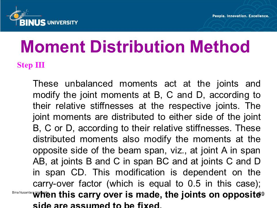 Bina Nusantara University 69 Step III These unbalanced moments act at the joints and modify the joint moments at B, C and D, according to their relative stiffnesses at the respective joints.