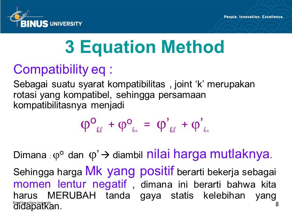 Bina Nusantara University 8 3 Equation Method Compatibility eq : Sebagai suatu syarat kompatibilitas, joint 'k' merupakan rotasi yang kompatibel, sehingga persamaan kompatibilitasnya menjadi  o kl +  o kr =  ' kl +  ' kr Dimana :  o dan  '  diambil nilai harga mutlaknya.