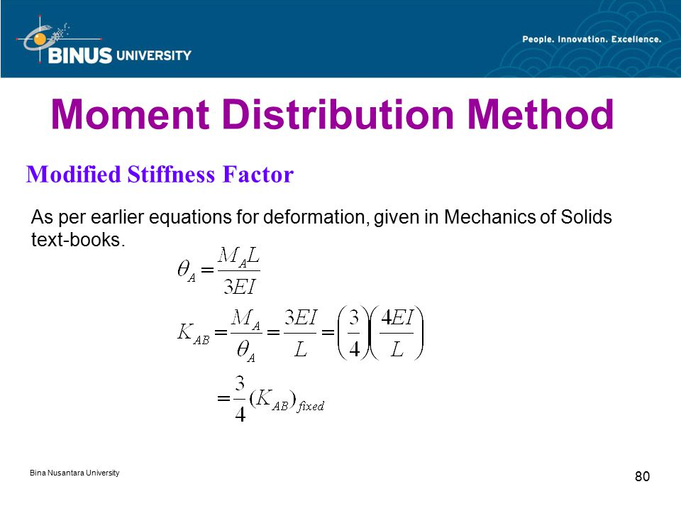 Bina Nusantara University 80 Moment Distribution Method Modified Stiffness Factor As per earlier equations for deformation, given in Mechanics of Solids text-books.
