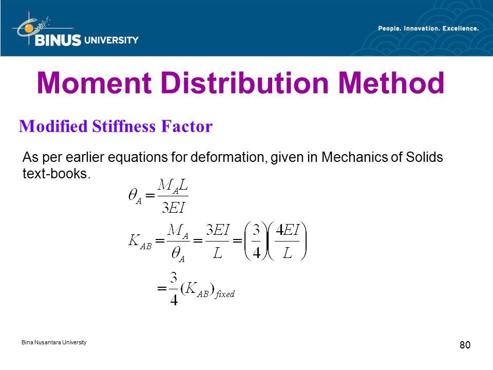 Bina Nusantara University 80 Moment Distribution Method Modified Stiffness Factor As per earlier equations for deformation, given in Mechanics of Soli
