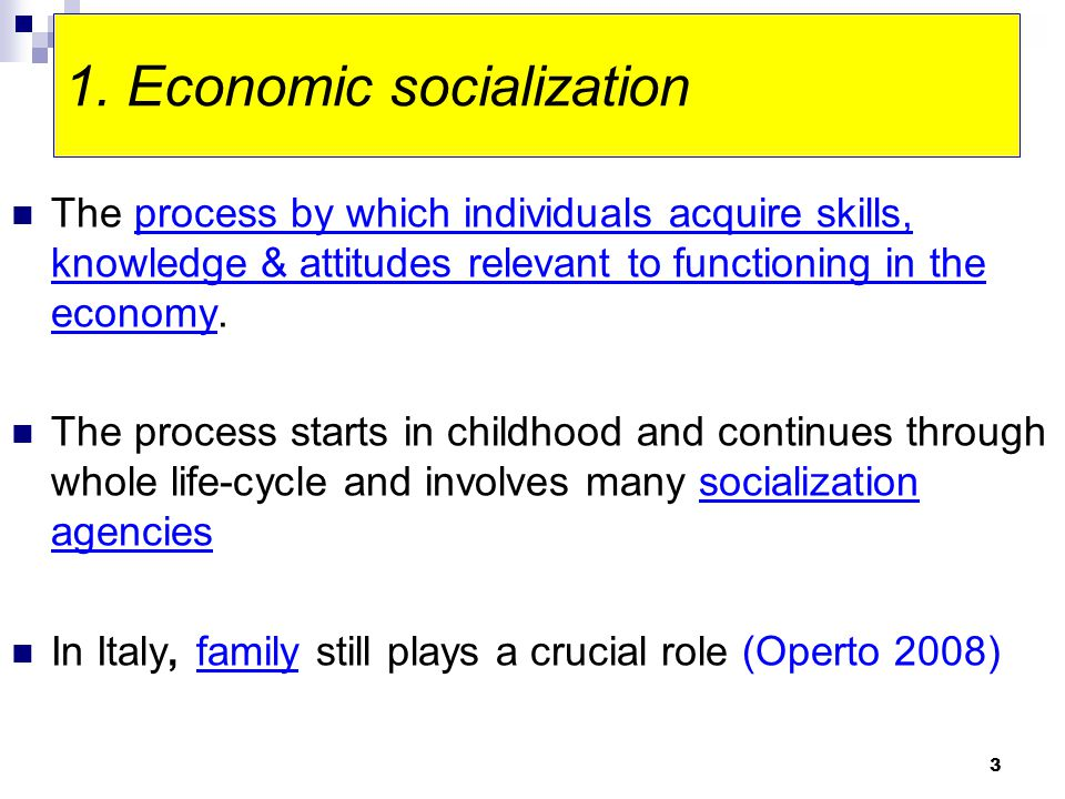 3 1. Economic socialization The process by which individuals acquire skills, knowledge & attitudes relevant to functioning in the economy. The process