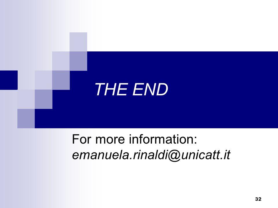 32 THE END For more information: emanuela.rinaldi@unicatt.it