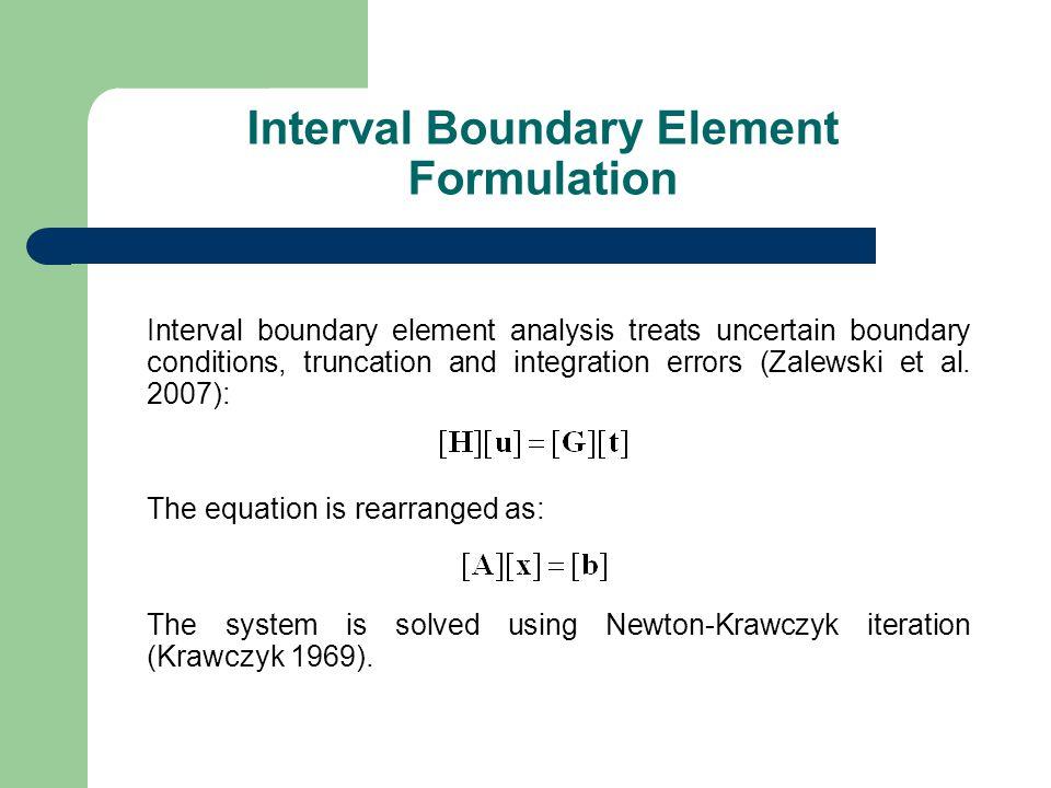 Interval boundary element analysis treats uncertain boundary conditions, truncation and integration errors (Zalewski et al.
