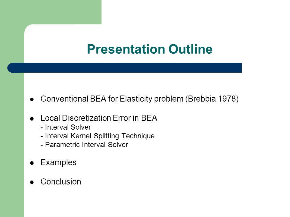Presentation Outline Conventional BEA for Elasticity problem (Brebbia 1978) Local Discretization Error in BEA - Interval Solver - Interval Kernel Splitting Technique - Parametric Interval Solver Examples Conclusion
