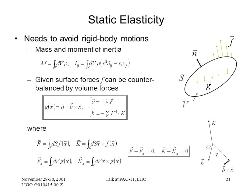 November 29-30, 2001 LIGO-G010415-00-Z Talk at PAC-11, LHO 21 Static Elasticity Needs to avoid rigid-body motions –Mass and moment of inertia –Given surface forces f can be counter- balanced by volume forces where