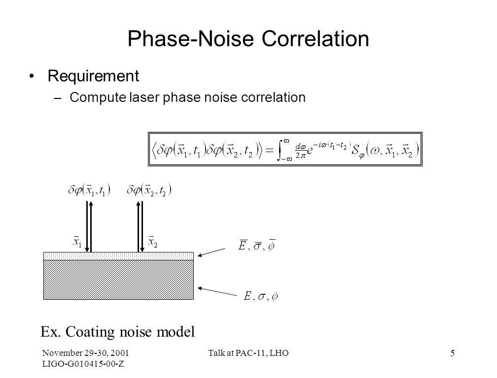 November 29-30, 2001 LIGO-G010415-00-Z Talk at PAC-11, LHO 6 Intrinsic Thermal Noise Phase Noise Formula