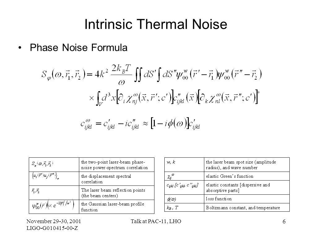 November 29-30, 2001 LIGO-G010415-00-Z Talk at PAC-11, LHO 17 Quarter-Space Mirror Model Edge effects on noise calculation –Analytical model 
