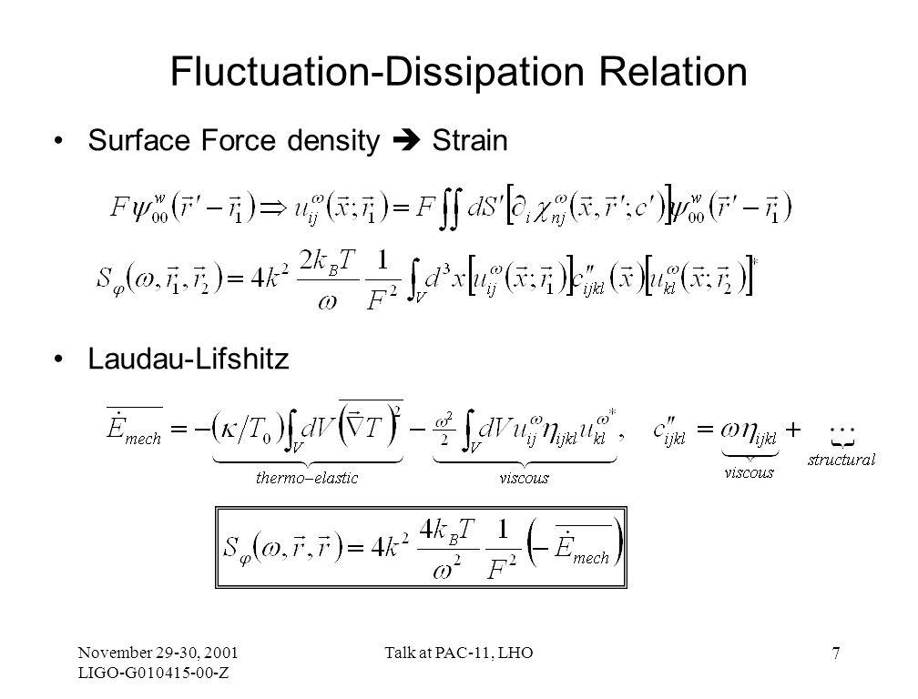 November 29-30, 2001 LIGO-G010415-00-Z Talk at PAC-11, LHO 7 Fluctuation-Dissipation Relation Surface Force density  Strain Laudau-Lifshitz