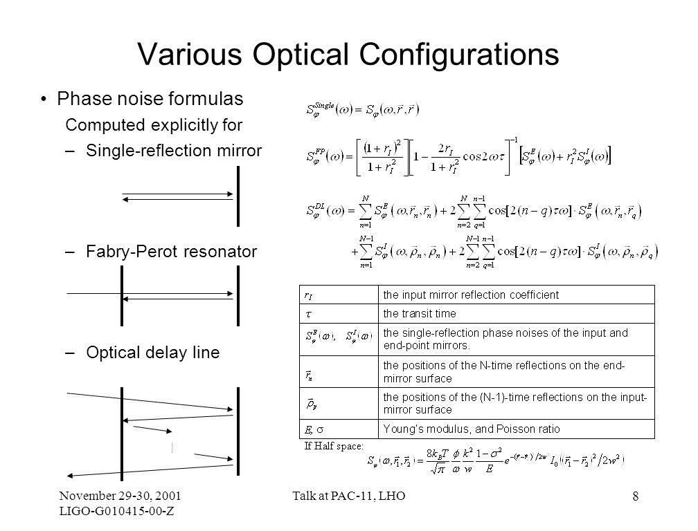 November 29-30, 2001 LIGO-G010415-00-Z Talk at PAC-11, LHO 9 Fabry-Perot vs.